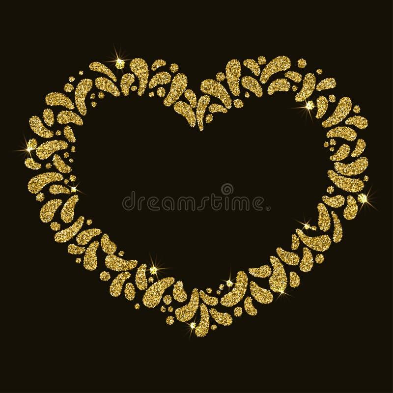 Festlig guld- hjärtaram för vektor Prydnad av att blänka droppar För karneval fest, tema av förälskelse, par, valintinesdag royaltyfri foto