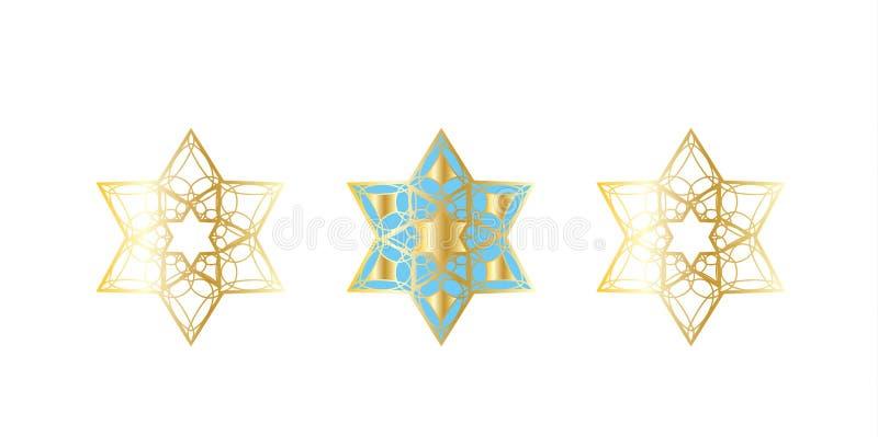 Festlig guld- stjärnamodell vektor illustrationer