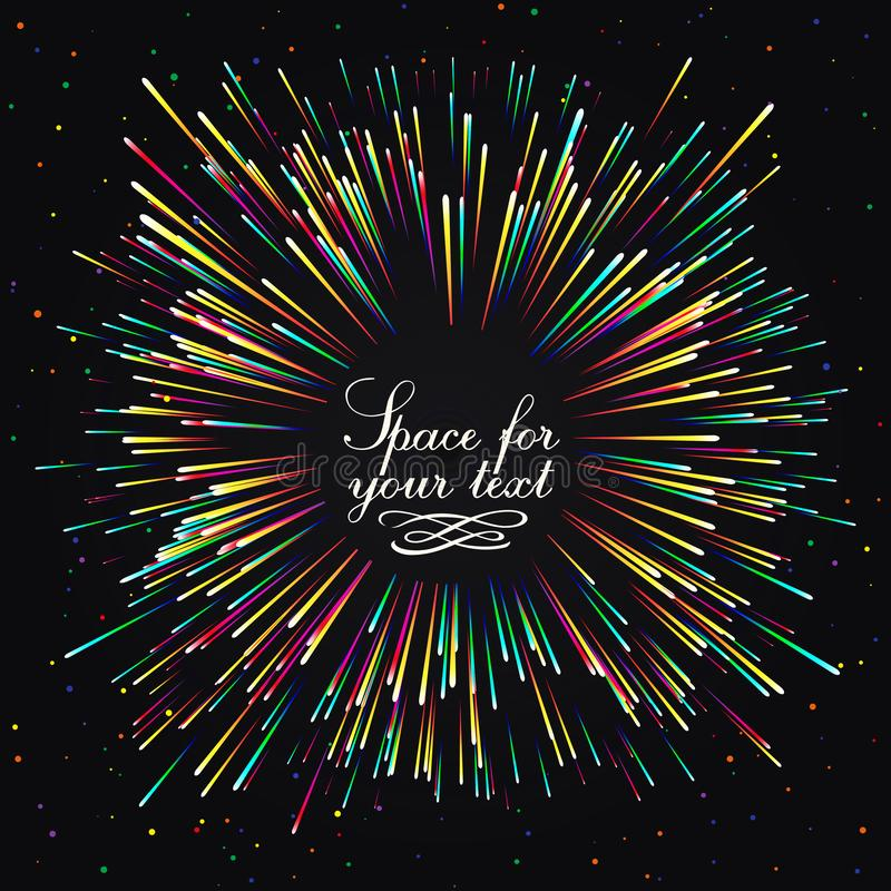 Festlig honnör för ` s för nytt år En ljus bristning av festliga ljus En exponering av fyrverkerier djupblå färg royaltyfri illustrationer
