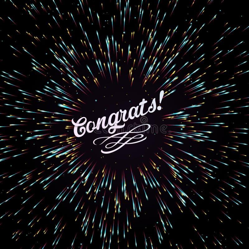 Festlig honnör för ` s för nytt år Jul En ljus bristning av festliga ljus En exponering av fyrverkerier djupblå färg T stock illustrationer