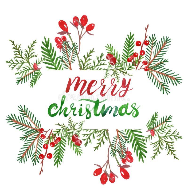 Festlig jul och nya år vinterkrans på dörr med röda julstjärnablommor, järnekbär och att sörja kottar Watercol stock illustrationer