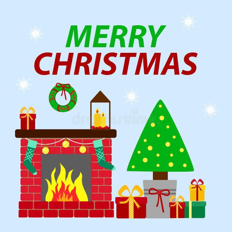 Festlig julgran med gåvor och en dekorerad spis Vektorhälsningkort i plan stil royaltyfri illustrationer