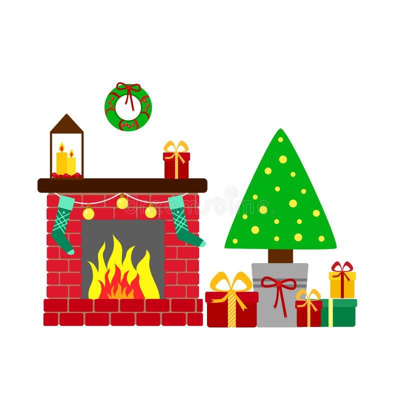 Festlig julgran med gåvor och en dekorerad spis Vektorhälsningkort i plan stil vektor illustrationer
