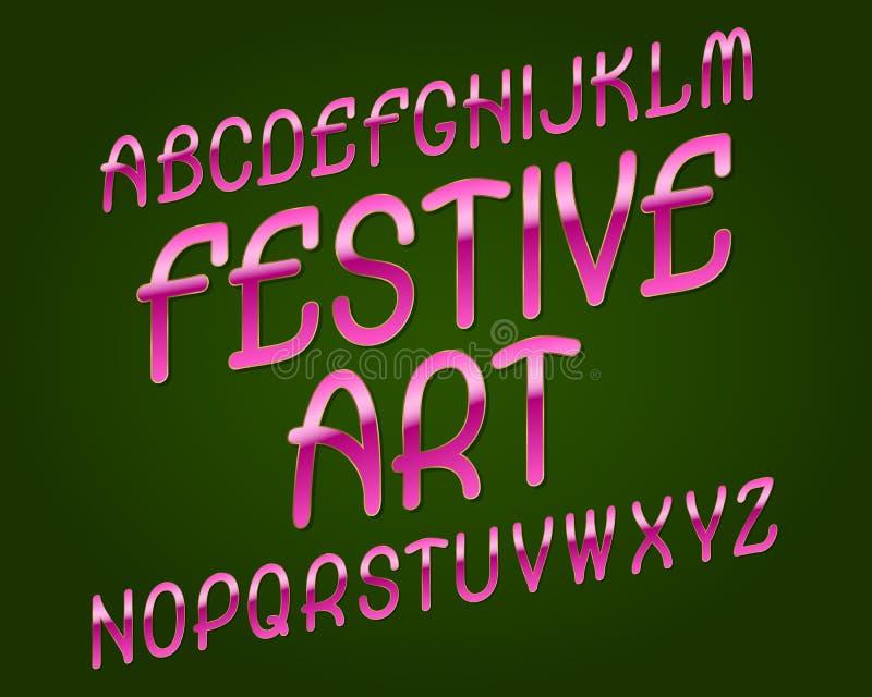 Festlig konststilsort Rosa guld- stilsort Isolerat engelskt alfabet royaltyfri illustrationer