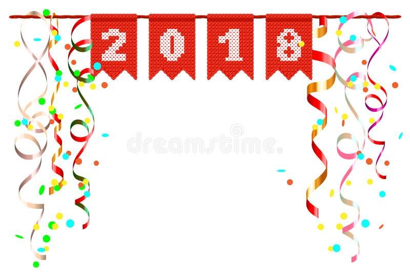 festlig landskap för nytt år 2018 av konfettier och slingrande royaltyfri illustrationer