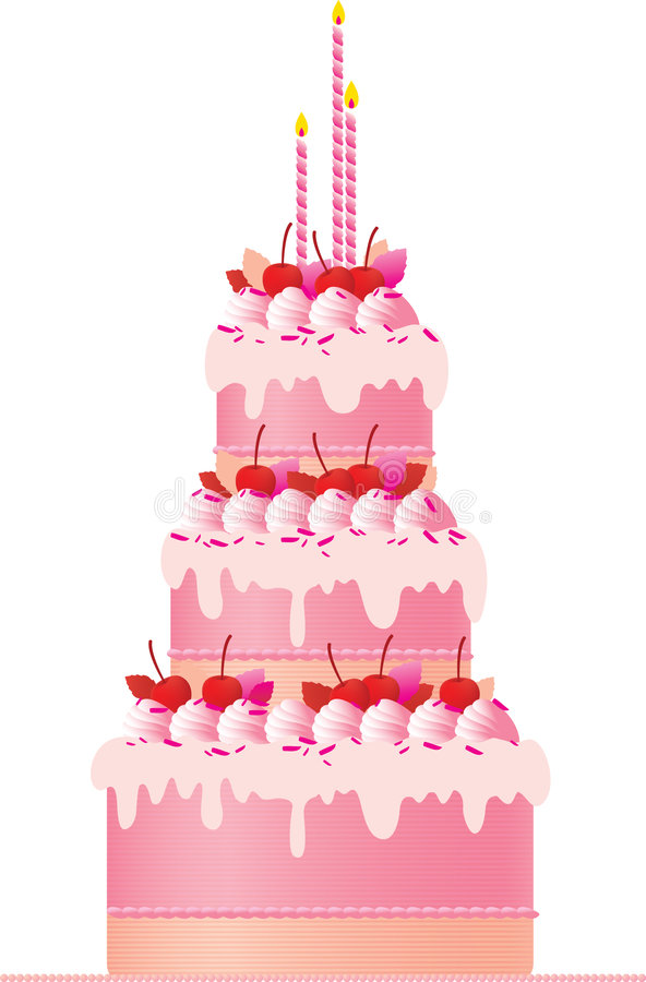 festlig pink för cake stock illustrationer