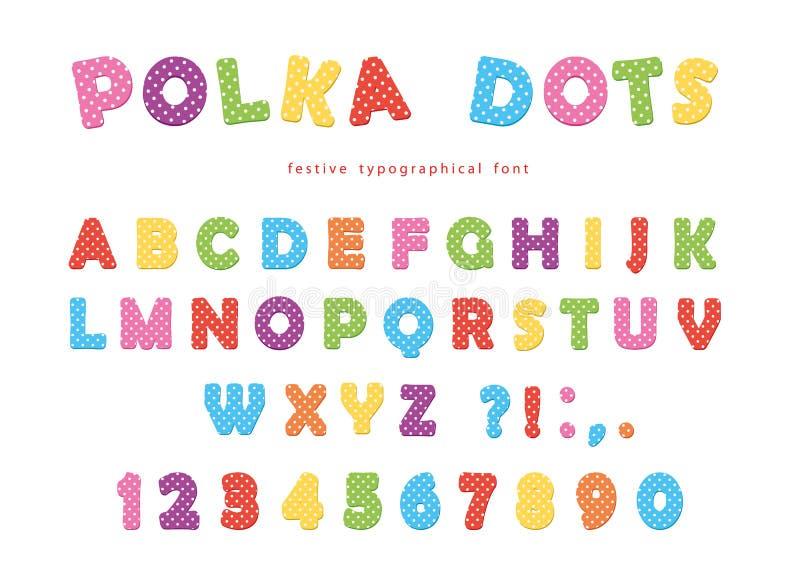 Festlig prickstilsort Färgrika abcbokstäver och nummer roliga ungar för alfabet Isolerat på vit stock illustrationer