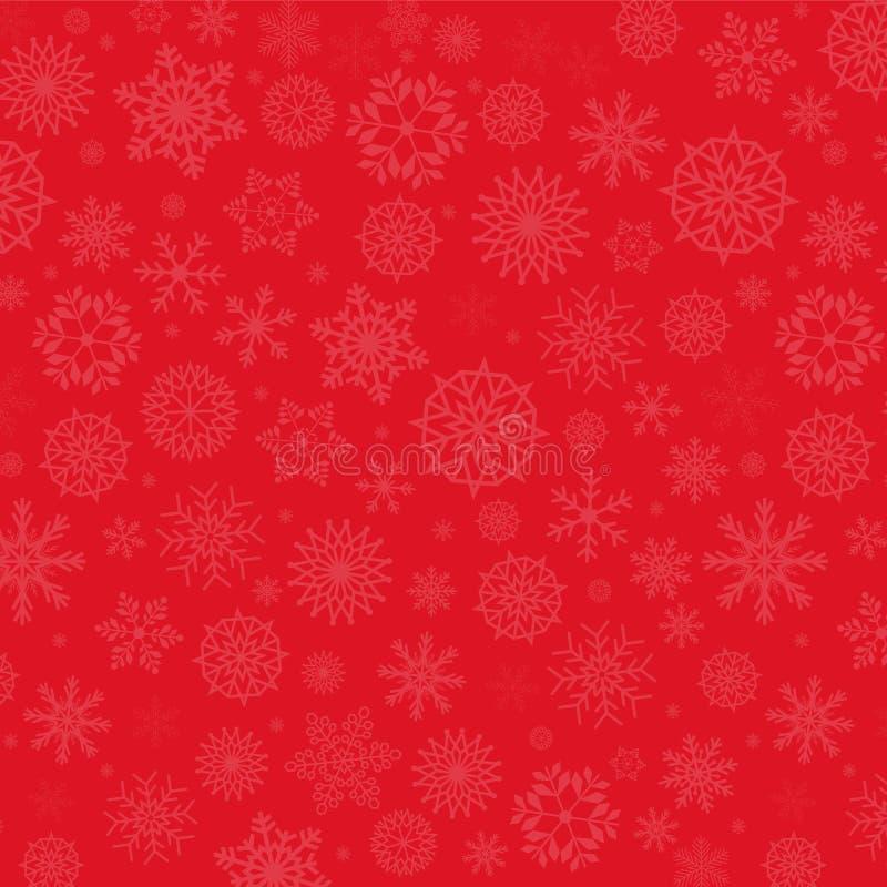Festlig röd bakgrund för vinter Eleganta fallande snöflingor stock illustrationer