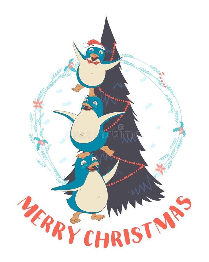 Festlig rolig glad julkort med pyramid I för tre pingvin stock illustrationer