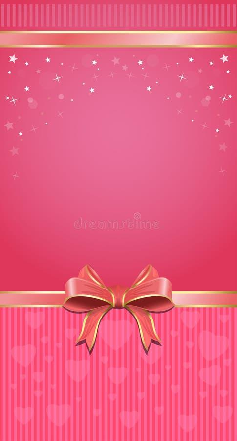 Festlig rosa bakgrund med bandet och pilbågen vektor illustrationer