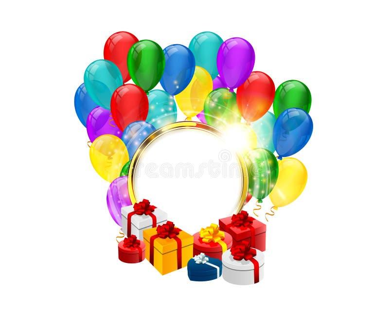 Festlig rund ram med ballongen, gnistor och gåvaasken på vit bakgrund vektor illustrationer