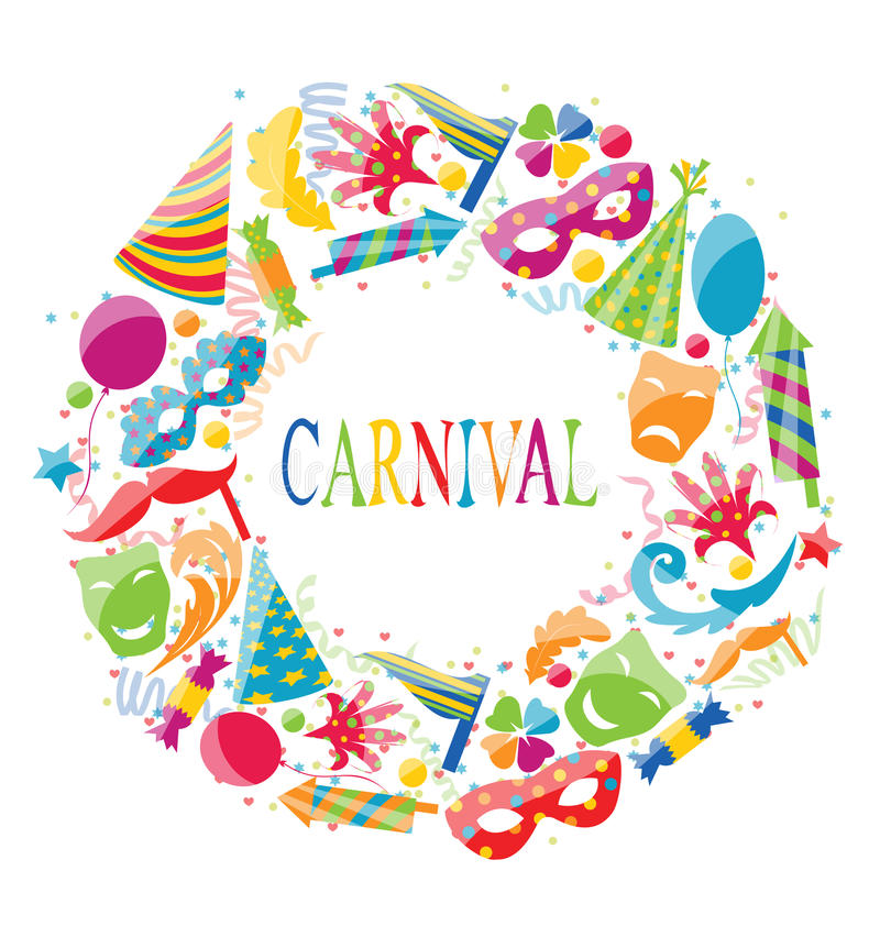 Festlig rund ram med färgrika symboler för karneval royaltyfri illustrationer