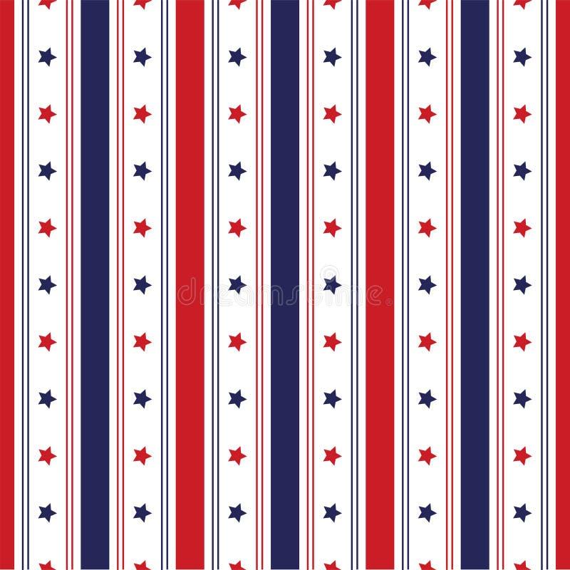 Festlig sömlös bakgrund i för USA för nationella färger blått röda vit Remsor och stjärnor, stor idé för fyrverkerier för att dek stock illustrationer