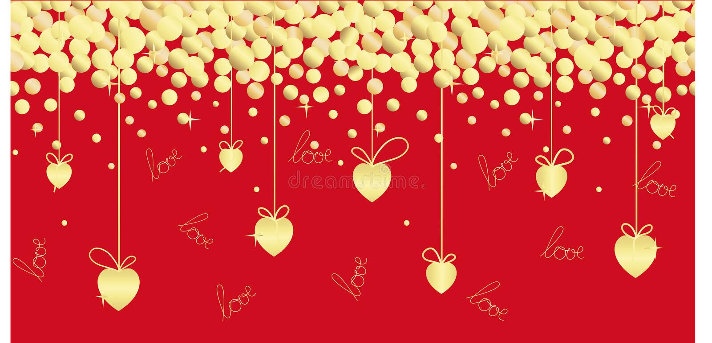 Festlig sömlös illustration med guld- hjärtor, band, handbokstäver på en röd bakgrund stock illustrationer