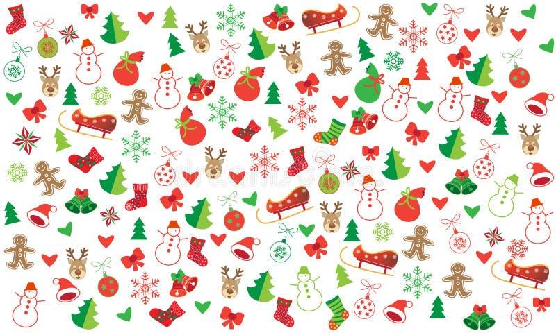 Festlig sömlös modell för julsymboler royaltyfri illustrationer