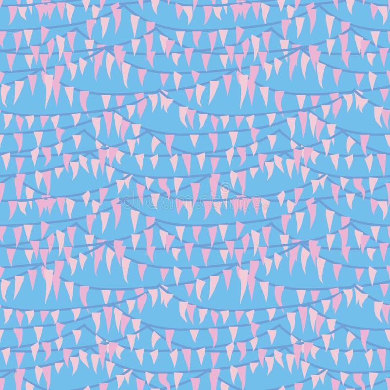 Festlig sömlös vektormodell med rosa bunting på blå bakgrund stock illustrationer