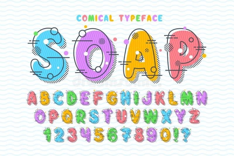 Festlig stilsortsdesign för linjär bubbla, färgrikt alfabet stock illustrationer