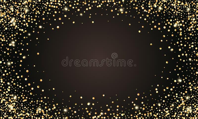 Festlig svart bakgrund för vektor, guld- blänka konfettiram för inbjudningar, årsdag, berömfödelsedag royaltyfri illustrationer