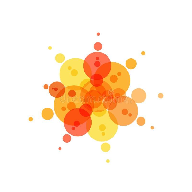 Festlig symbol Röda, gula och orange cirklar, abstrakta fyrverkerier, sommarsol Plan enkel logomall Modernt emblem stock illustrationer