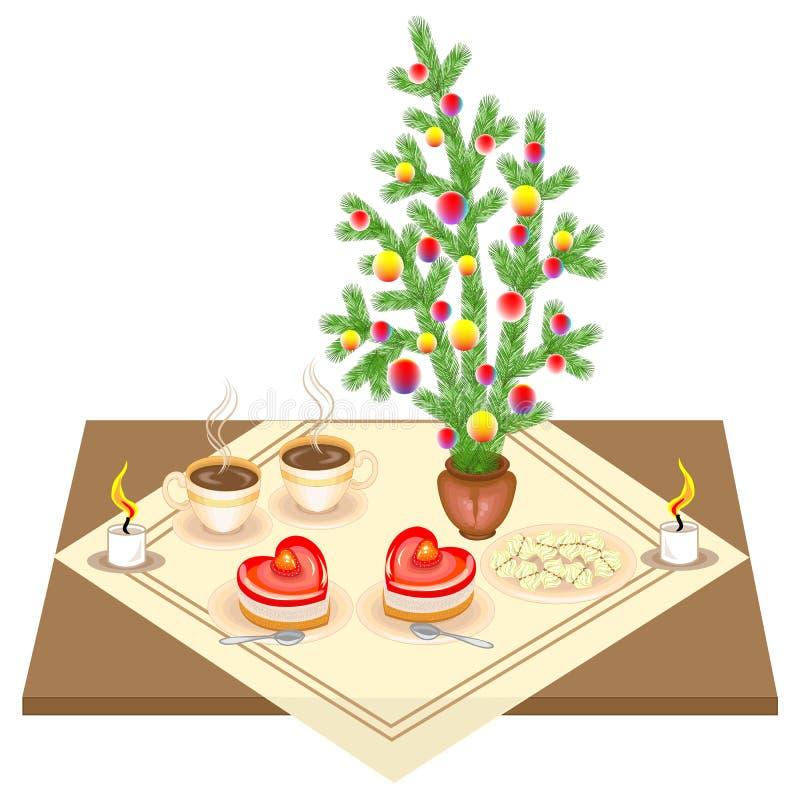 festlig tabell Bukett f?r nytt ?r fr?n julgranen Läcker hjärta-formad kaka och te eller kaffe Stearinljus ger en romantiker vektor illustrationer