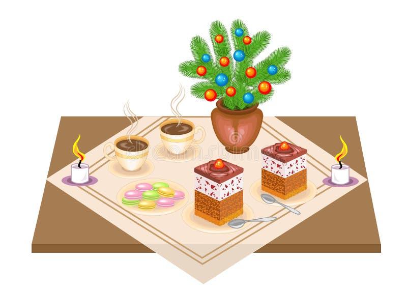 festlig tabell L?cker kaka och te, coffe En julbukett fr?n en julgran och en stearinljus ger ett romantiskt lynne vektor royaltyfri illustrationer