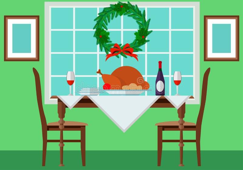 Festlig tabell med kalkon och tappning stock illustrationer