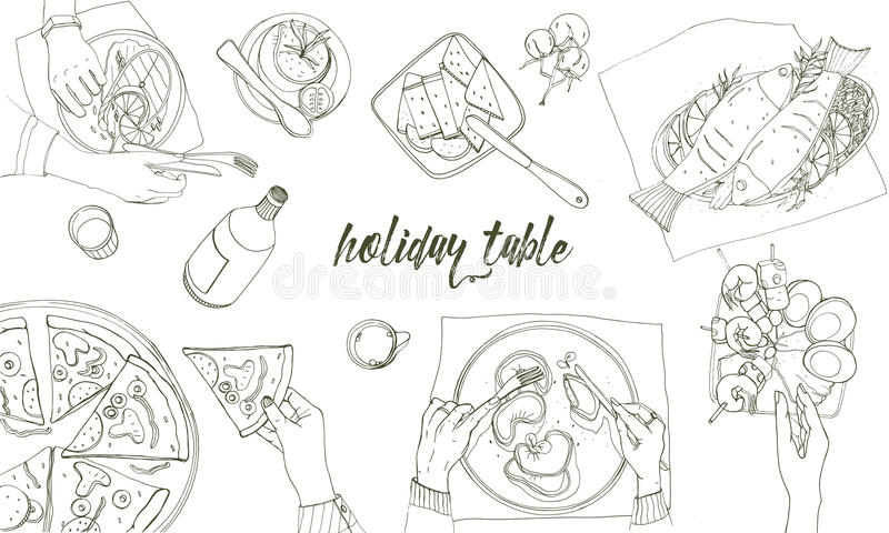 Festlig tableful lagd tabell, dragen konturillustration för ferier hand, bästa sikt Bakgrund med stället för text royaltyfri illustrationer