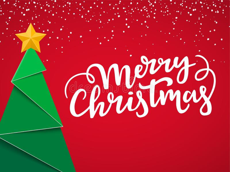 Festlig typografisk julvykort Xmas-kortdesign med nytt nära träd, den guld- stjärnan, bokstäver och snö på röd vinterbackgro vektor illustrationer