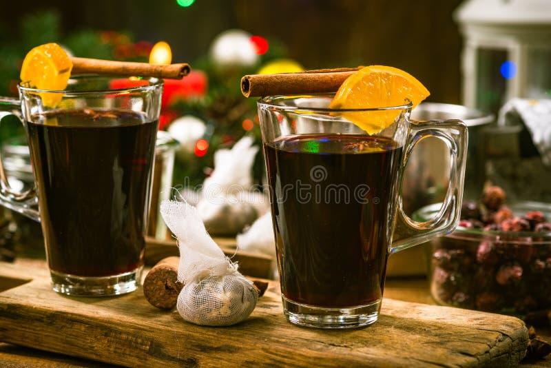 Festlig värme funderade vin, julmat royaltyfri bild