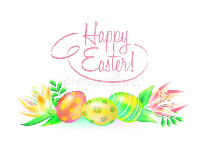 Festlig vektorjordning lyckliga easter Påskägg och blomma i vit bakgrund Planlägg ett påsk- hälsningkort eller royaltyfri illustrationer