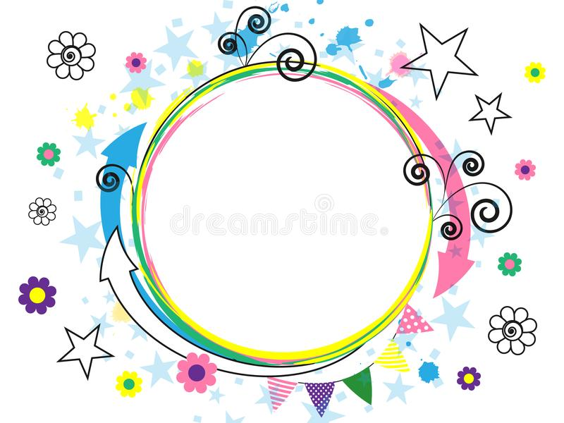 Festlig vit bakgrund med färgrika komiska beståndsdelar abstraktion Pilar spiral, stjärnor, blommor Gladlynt mång--färgad design royaltyfri illustrationer
