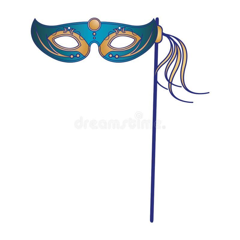 Festliga blålinjen för tecknad film för karnevalpartimaskering stock illustrationer