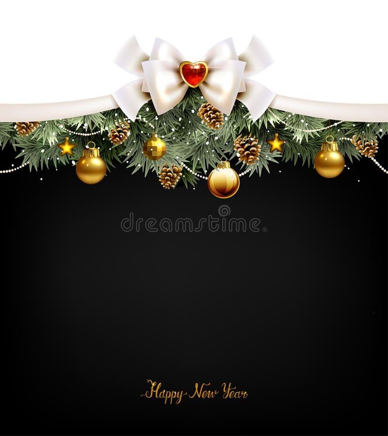 Festliga bollar, granträd och kottar på julbakgrunden stock illustrationer