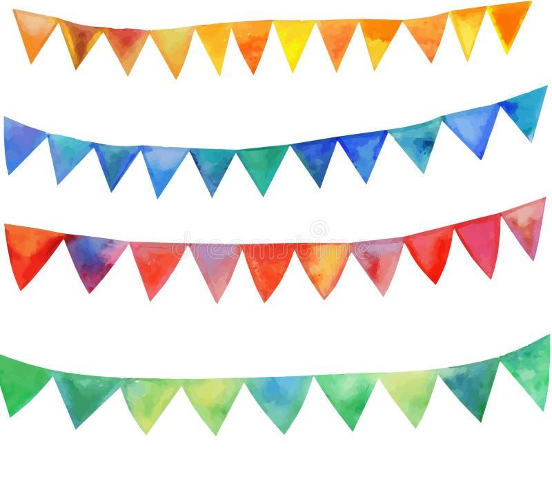Festliga flaggor för vattenfärgvektor royaltyfri illustrationer
