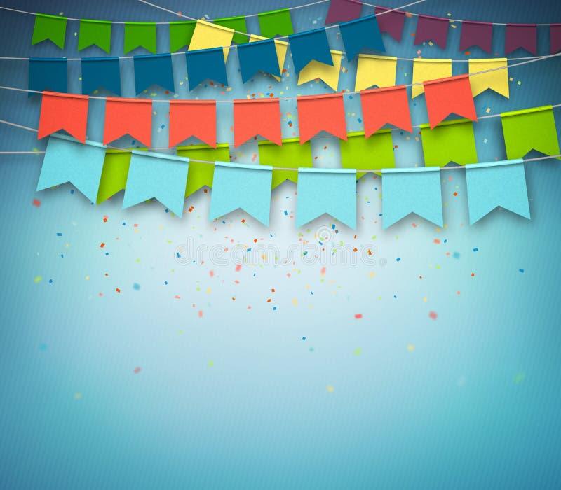 Festliga flaggor med konfettier Girland berömparti royaltyfri illustrationer