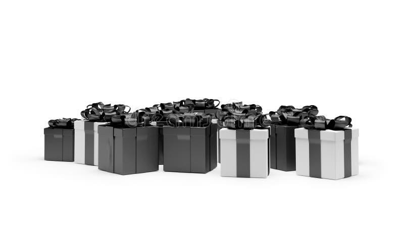 Festliga gåvaaskar 3d-illustration för vita och svarta gåvor stock illustrationer
