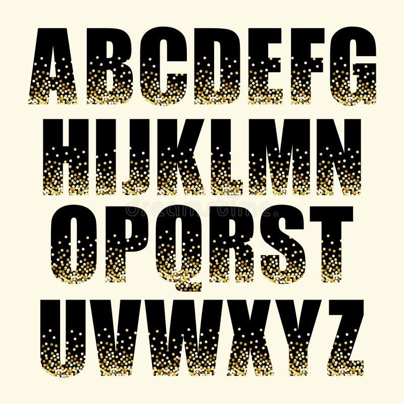Festliga lyxiga alfabetbokstäver med guld- glamour blänker konfettier royaltyfri illustrationer