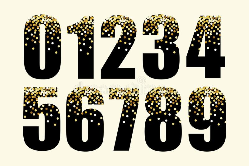 Festliga lyxnummer med guld- glamour blänker konfettier vektor illustrationer