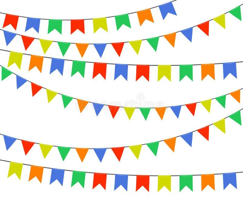 Festliga mångfärgade ljusa flaggor, girlander av bunting som isoleras på vit bakgrund också vektor för coreldrawillustration royaltyfri illustrationer
