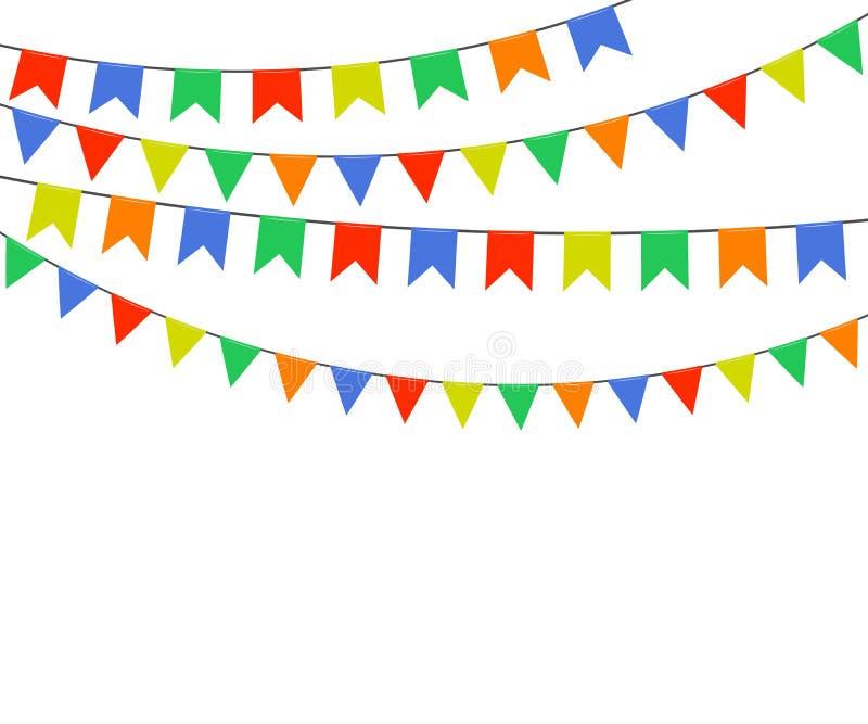 Festliga mångfärgade ljusa flaggor, girlander av bunting som isoleras på vit bakgrund också vektor för coreldrawillustration stock illustrationer