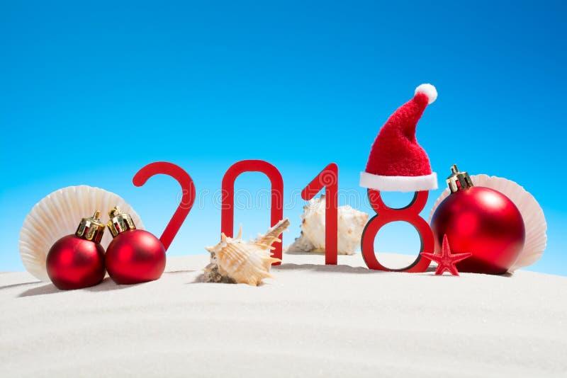 Festliga nya år begrepp med snäckskal arkivfoto
