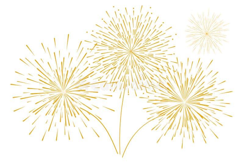 Festliga nytt års guld- fyrverkerier som isoleras på en vit bakgrund också vektor för coreldrawillustration royaltyfri illustrationer