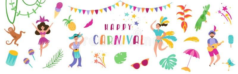 Festligt baner för Brasilien karneval med danstecken kvinna och man i traditionella dräkter brasiliansk dansaresamba stock illustrationer