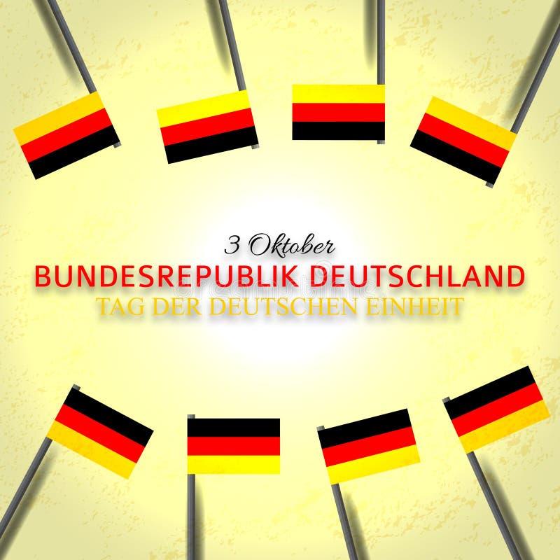 Festligt baner med flaggor av Tyskland, det nationella berömkortet och en inskrift i tysk Oktober 3 stock illustrationer