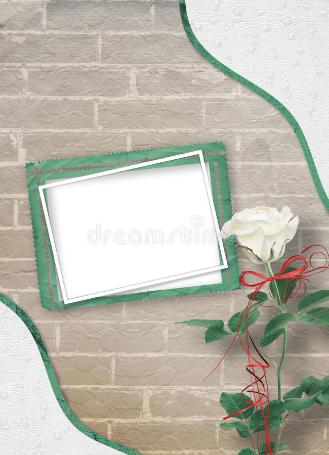 Festligt hälsa kort med härliga rosor och fotoram för hälsningar arkivbild