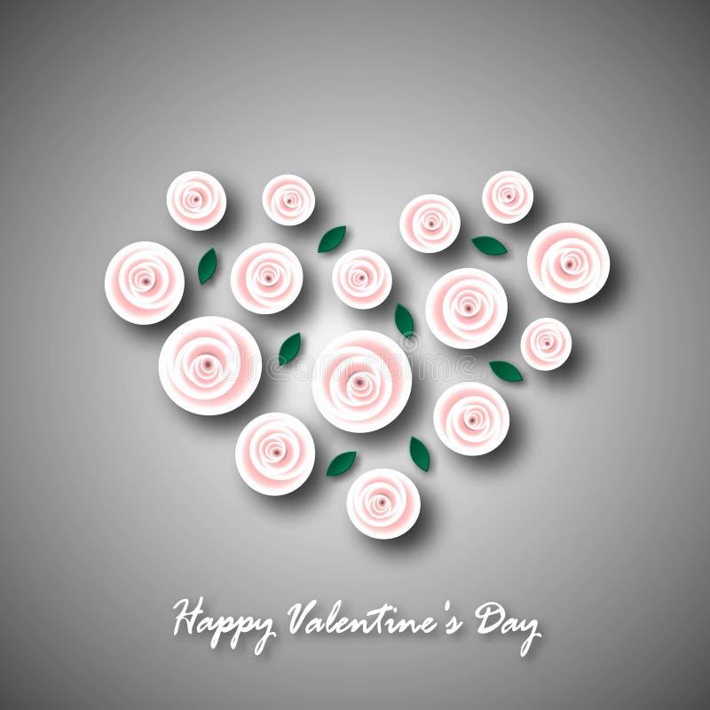 Festligt hälsningkort för dag för valentin` s För erkännande Hjärta från rosa rosblommor och gräsplansidor med skuggor på en grå  stock illustrationer