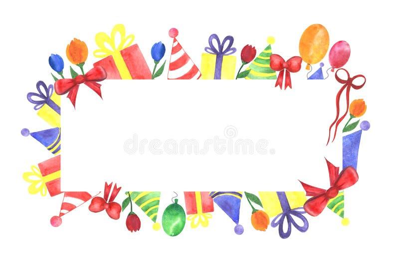 Festligt handgjort baner för vattenfärgparti som isoleras på en vit bakgrund royaltyfri bild