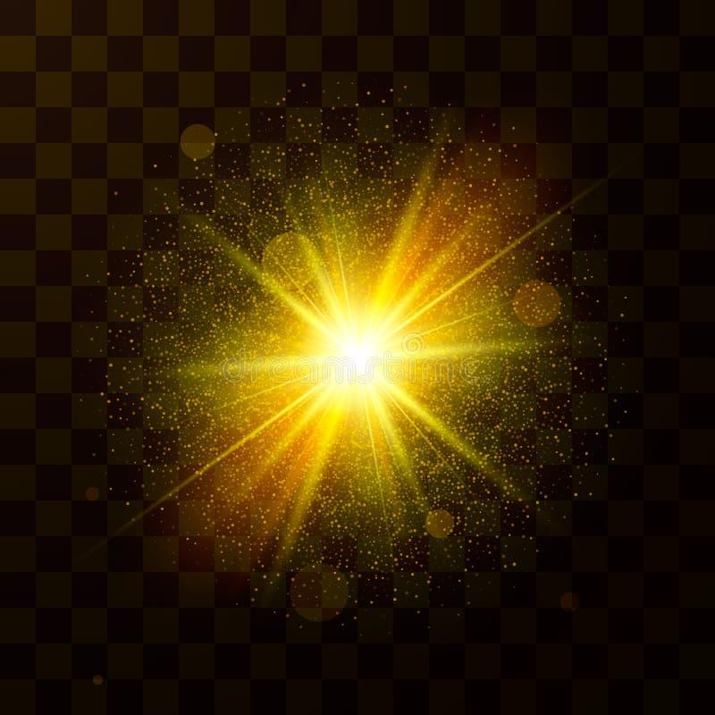 Festligt julljus Stjärnaexplosionen med damm och mousserar Konfetti- och gnistapartiklar som isoleras på genomskinlig bakgrund V vektor illustrationer