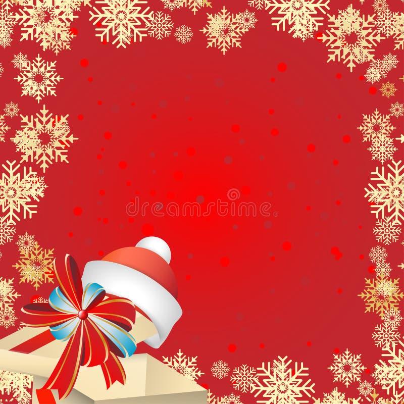 Festligt kort för jul och nytt år Gåvaask med en pilbåge och Santa Claus hatt på en röd bakgrund med snöflingor vektor illustrationer