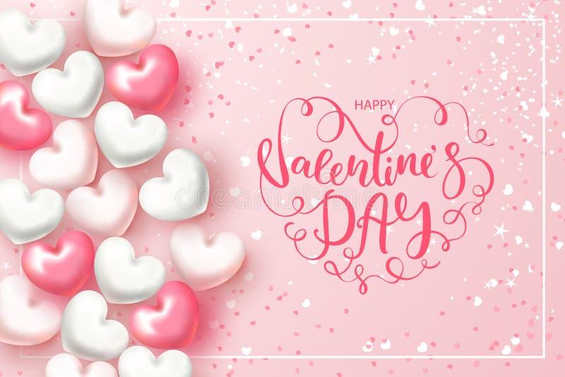 Festligt kort för lycklig dag för valentin` s Bakgrund med realistiska hjärtor, konfettier och härlig bokstäver vektor royaltyfri illustrationer